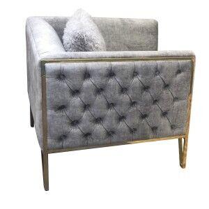 Alice Fabric Armchair, Grey / Gold