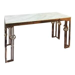 Melissa Marble Topped Metal Console Table, 130cm