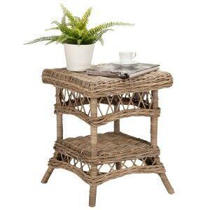 Nassau Rattan Square Side Table, Kubu Grey