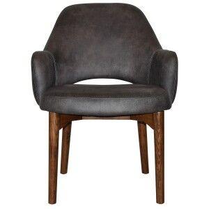 Albury Commercial Grade Fabric Tub Chair, Timber Leg, Slate / Light Walnut