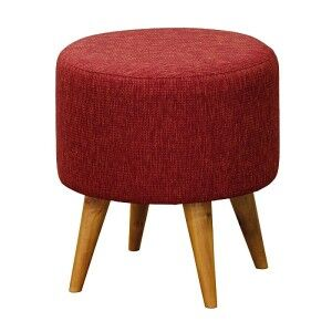 Oxley Commercial Grade Cotton Fabric Round Ottoman Stool, Cherry Red