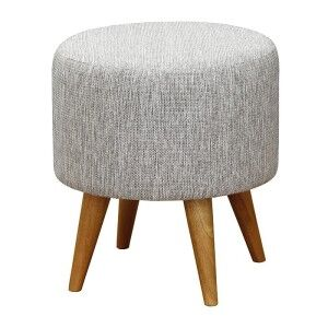 Oxley Commercial Grade Cotton Fabric Round Ottoman Stool, Grey