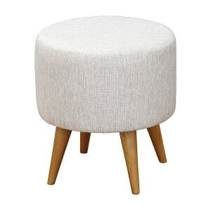 Oxley Commercial Grade Cotton Fabric Round Ottoman Stool, Light Grey