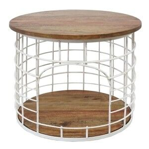 Bistro Timber and Metal Side Table - White