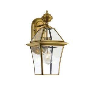 Rye IP44 Exterior Solid Brass Wall Lantern, Small, Antique Brass