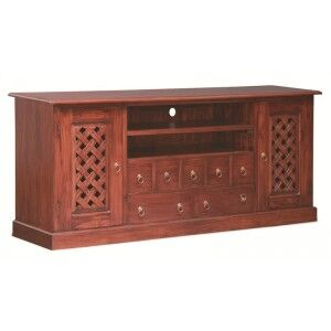 York 7 Drawer + 2 Weave Cupboard Solid Mahogany Entertainment Unit 187cm - Mahogany