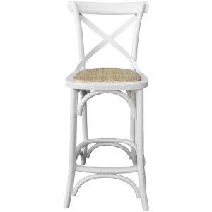 Kasan Solid Oak Timber Cross Back Bar Chair, Matt White