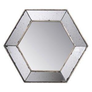 Trehan Antique Hexagon Wall Mirror, 52cm