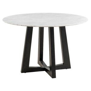 Sloan Commercial Grade Marble Top Round Dining Table, 120cm, White / Black