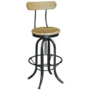 Conrad Industrial Adjustable Metal Bar Chair with Elm Timber Seat - Natural / Black
