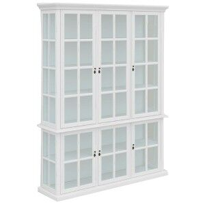 Tilbury Acacia Timber 6 Door Display Cabinet, White