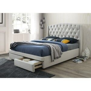Hazenmore Fabric Bed with End Drawers, King, Oatmeal