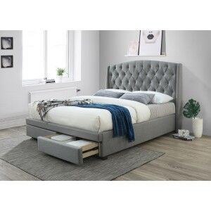 Hazenmore Fabric Bed with End Drawers, Queen, Grey