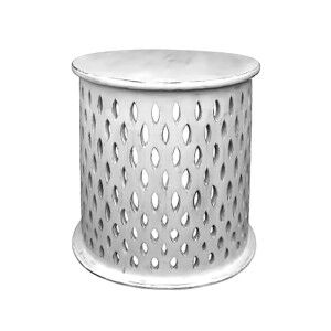 Quarata Wooden Round Side Table, Dirty White