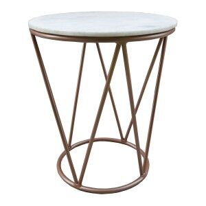 Russel Marble Top Metal Round Side Table