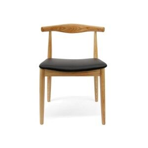 Replica Hans Wegner Elbow Chair with PU Seat, Natural / Black