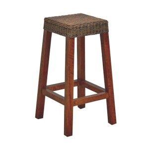 Falkenberg Solid Mango Wood Timber Bar Stool with Rattan Seat