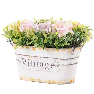 Tin Potted Artificial Pink Rose with Milan Grass