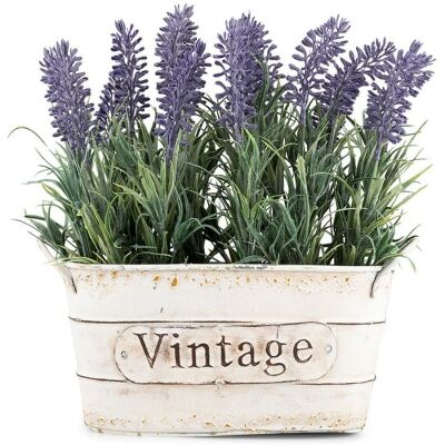 Tin Potted Artificial Lavender