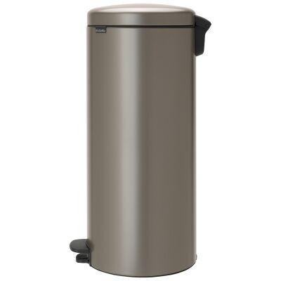 Brabantia NewIcon Pedal Waste Bin, 30 Litre, Platinum