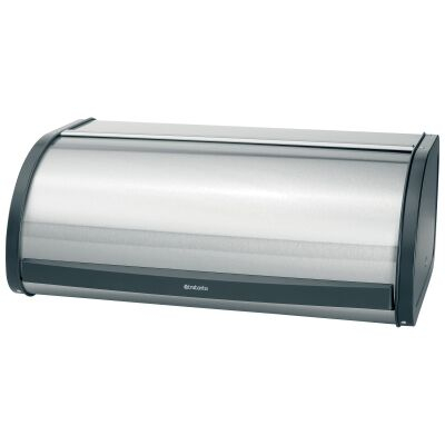 Brabantia Roll Top Bread Bin, Large, Matt Steel / Black