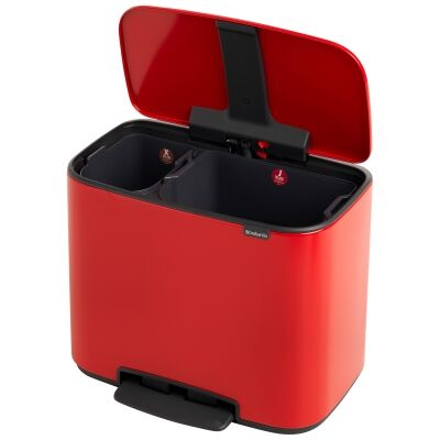Brabantia BO Pedal Waste Bin, 11/23 Litre, Passion Red