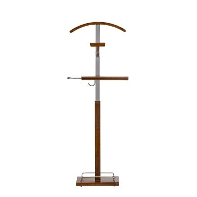 Edric Timber & Metal Valet Stand, Honey Oak / Silver