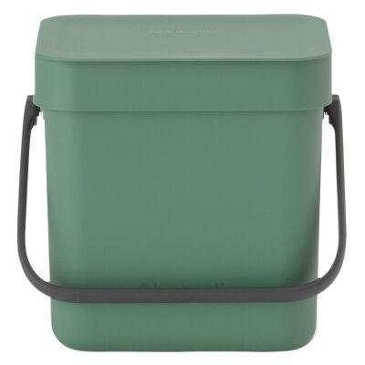 Brabantia Sort & Go Waste Bin, 3 Litre, Fir Green
