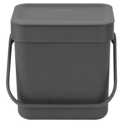 Brabantia Sort & Go Waste Bin, 3 Litre, Grey