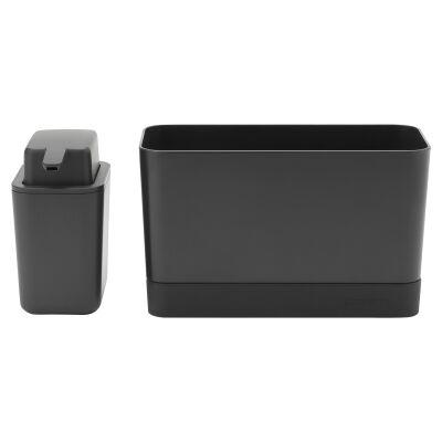 Brabantia Sink Organiser & Soap Dispenser Set, Dark Grey