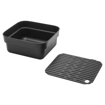 Brabantia Washing Up Bowl with Drying Tray, Dark Grey