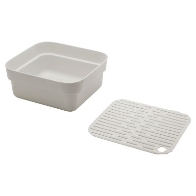 Brabantia Washing Up Bowl with Drying Tray, Light Grey