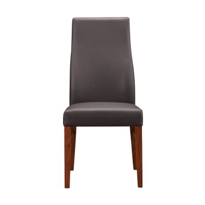 Tyrion Leather Dining Chair, Brown / Blackwood