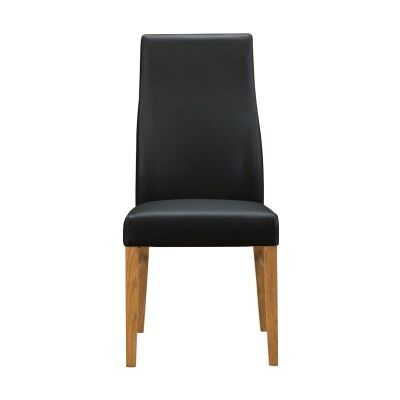 Tyrion Leather Dining Chair, Black / Light Walnut