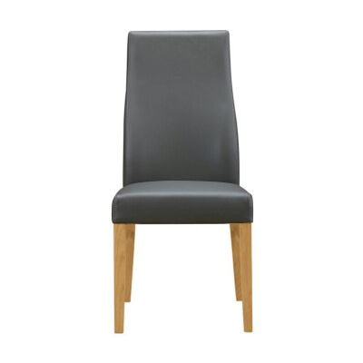 Tyrion Leather Dining Chair, Grey / Wheat