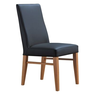 Theon Leather Dining Chair, Black / Blackwood