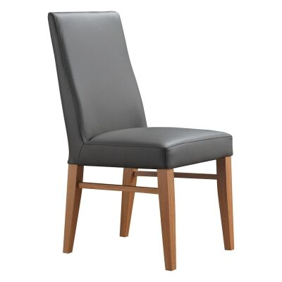 Theon Leather Dining Chair, Grey / Blackwood