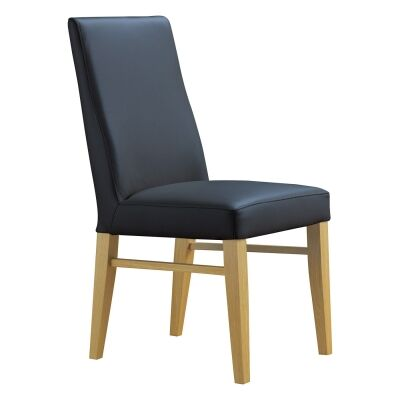 Theon Leather Dining Chair, Black / Wheat