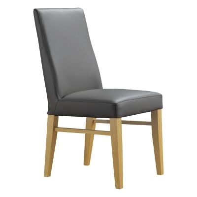 Theon Leather Dining Chair, Grey / Wheat