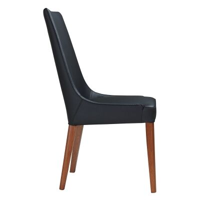 Kingstone Leather Dining Chair, Black / Blackwood
