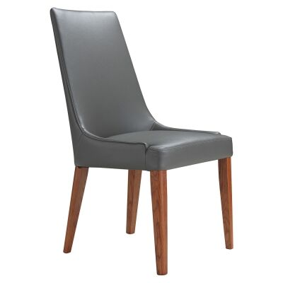 Kingstone Leather Dining Chair, Grey / Blackwood
