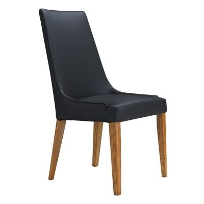 Kingstone Leather Dining Chair, Black / Wheat