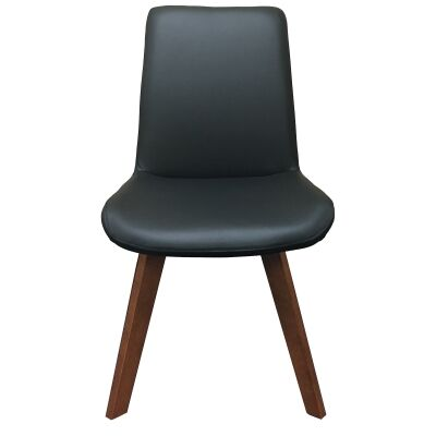 Soho Swivel Leather Dining Chair, Black / Blackwood