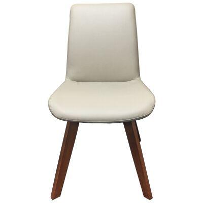 Soho Swivel Leather Dining Chair, Light Mocha / Blackwood