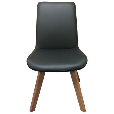Soho Swivel Leather Dining Chair, Black / Natural