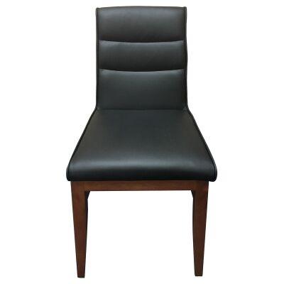 DalmarLeather Dining Chair, Black / Blackwood