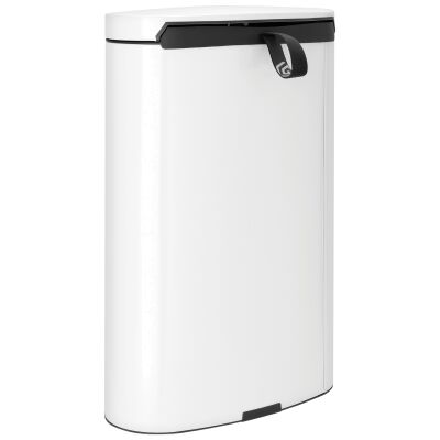 Brabantia FlatBack+ Pedal Waste Bin, 40 Litre, White