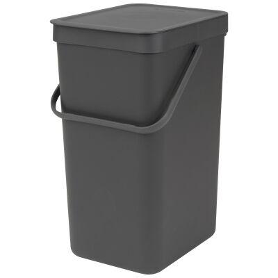 Brabantia Sort & Go Waste Bin, 16 Litre, Grey