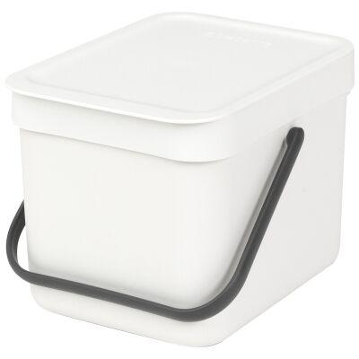 Brabantia Sort & Go Waste Bin, 6 Litre, White