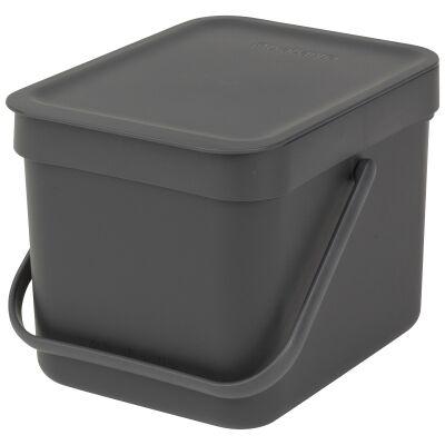 Brabantia Sort & Go Waste Bin, 6 Litre, Grey